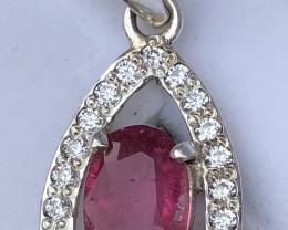 Natural Rubelite Tourmaline with Zircon 925 Silver Necklace + Chain