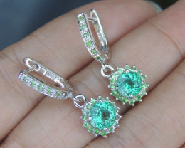Neon Parabia Color Apatite with Tsavorite  in Silver Earrings