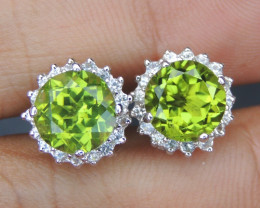 4.77cts, Peridot with Sapphire Silver Earrings