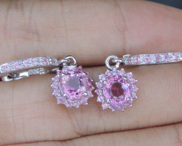 Pink Tourmaline with Sapphires in Silver Earrings