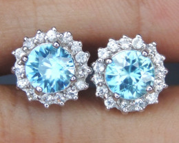 Natural Cambodian Blue Zircon with Sapphires in Silver Earrings
