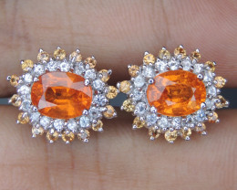 Mandarin Garnet with Sapphires in Silver Earrings