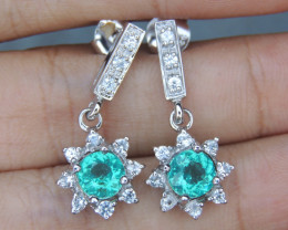 Apatite with Sapphires in Silver Earrings