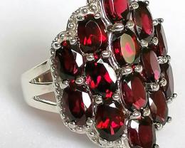 Orissa Rhodolite Garnet Cluster Ring 8.00 TCW