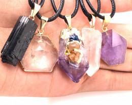 5 Pc Amethyst Crystal lovers pendants   ,  BR 2302