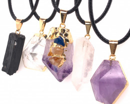 5 Pc Amethyst Crystal lovers pendants   ,  BR 2303