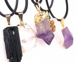 5 Pc Amethyst Crystal lovers pendants   ,  BR 2304