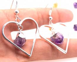 3x Heart Designs Raw  2 x  Amethyst  1 x Citrine Earrings BR 2308
