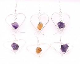 3x Heart Designs Raw  2 x  Amethyst  1 x Citrine Earrings BR 2309