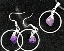 Terminated Point Amethyst Gemstone Pendant n Earrings  BR 2313