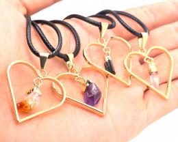 4x Heart Designs Raw Crystal,  Amethyst , Citrine ,Tourm Pendants BR 2319