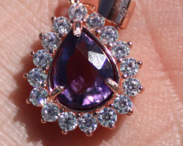 Amethyst 1.75ct Rose Gold Finish Solid 925 Sterling Silver Pendant