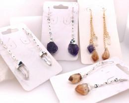 4 x Earrings Designs Raw : Amethyst, Citrine, Crystal - BR 1029