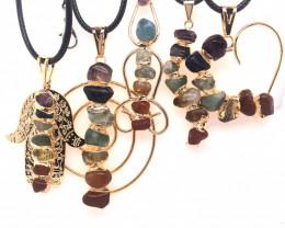 5 x Different Chakra Pendant Gold - BR 1035