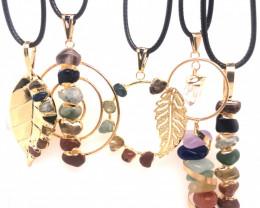 5 x Different Chakra Pendant Gold - BR 1041