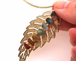 Leaf Seven Chakra - Natural stones - Golden Chain Pendant - BR 1050
