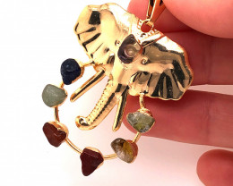Elephant Gold Seven Chakra - natural stones - BR 1055
