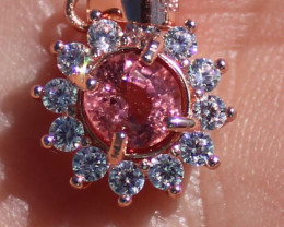 Red Tourmaline .95ct Solid 925 Sterling Silver Rose Gold Finish Pendant