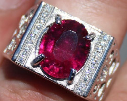 Red Tourmaline 3.77ct Solid 925 Sterling Silver White Gold Finish Solitaire