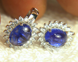 19.82 Tcw. Tanzanite, CZ, Silver / White Gold Plate Earrings - Gorgeous
