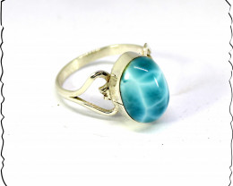 Premium Natural Sky Blue AAA++ Larimar .925 Sterling Silver Ring #8