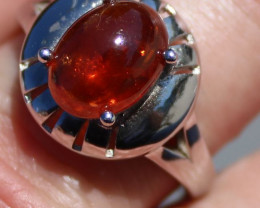 Spessartine 4.45ct Solid 925 Sterling Silver Rhodium Finish Solitaire Ring