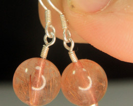Wow Very Beautiful Earrings of Rutiled Quartz in 925 Sliver.