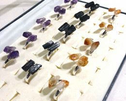 x15 Set Raw Citrine, Tourmaline & Amethyst Silver Plated Rings - BR 1096