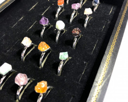 x15 set Rough Raw Colorful Gemstone Silver Plated Rings - BR 1099