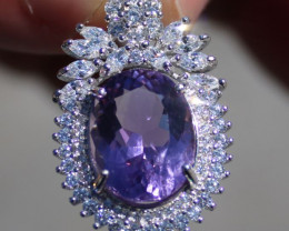 Amethyst 7.85ct White Gold Finish Solid 925 Sterling Silver Pendant