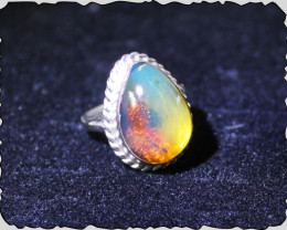 Exquisite Natural Dominican Clear Sky Blue Red Amber .925 Sterling Silver R