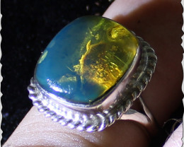 Excellent Natural Dominican Clear Sky Blue Amber .925 Sterling Silver Ring