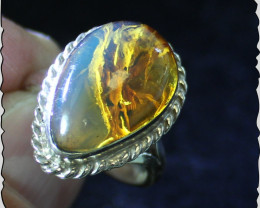 Impressive Natural Clear Sky Blue Amber .925 Sterling Silver Ring #7 ½ free