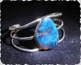 Dominican Translucent Deep Blue Amber .925 Sterling Silver Cuff Bangle