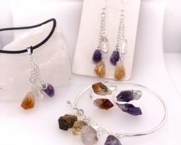 Raw Gemstone Set Citrine, Crystal & Amethyst - BR 1143