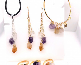 Raw Gemstone Set Citrine, Crystal & Amethyst - BR 1149
