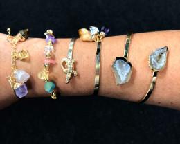 4 x Raw Rock & Funny Gemstones Bracelets - BR 1157