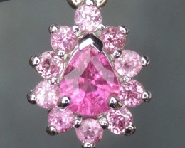 Rubelite, with Pink Sapphire in Silver