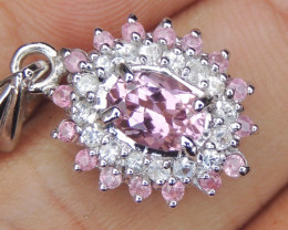 Baby Pink Tourmlaine, with Sapphire in Silver