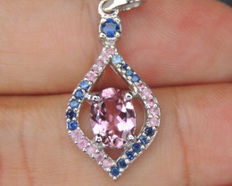 Pink Tourmaline with Sapphire in Silver