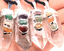 4 x Parcel Terminated Point Crystal Chakra Pendant - BR 1192
