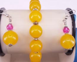 Natural Jade Bracelet And Earrings.