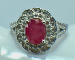 2.03 Ct Ruby Unheated Mozambiq Quality Silver 925 Ring. (DZR 05)