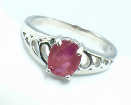 1.11 Ct Ruby Unheated Mozambiq Quality Silver 925 Ring. (DZR 06)