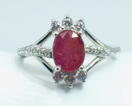 1.46 Ct Ruby Unheated Mozambiq Quality Silver 925 Ring. (DZR 07)