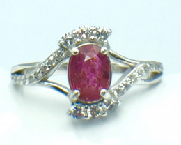 1.03 Ct Ruby Unheated Mozambiq Quality Silver 925 Ring. (DZR 10)