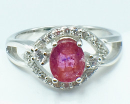 1.01 Ct Ruby Unheated Mozambiq Quality Silver 925 Ring. (DZR 11)