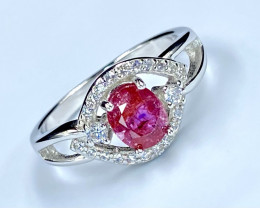1.01 Ct Ruby Unheated Mozambiq Quality Silver 925 Ring. (DZR 11)