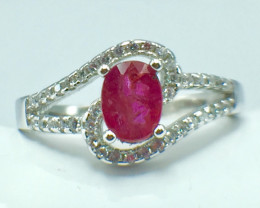 0.91 Ct Ruby Unheated Mozambiq Quality Silver 925 Ring. (DZR 14)