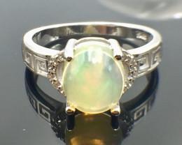 1.92 Ct Natural Opal Sparkiling Gemstone. Silver Ring. DZO 16
